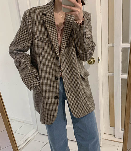 Wool check jacket (2 colors)
