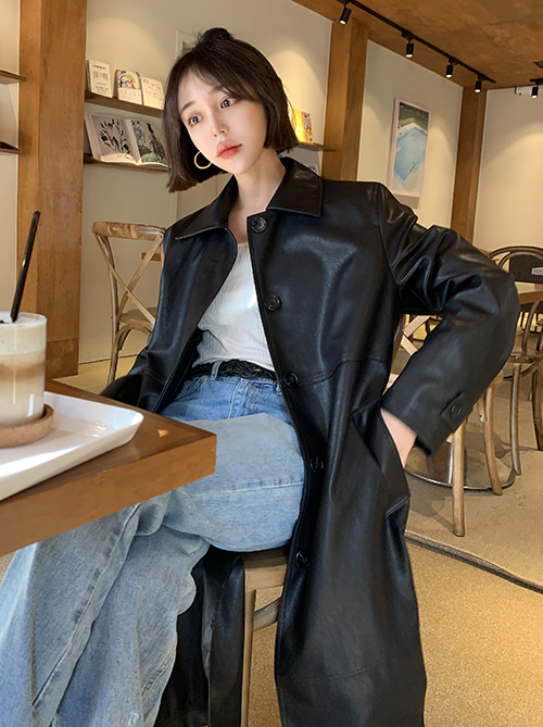 Leather trench coat (2 colors)