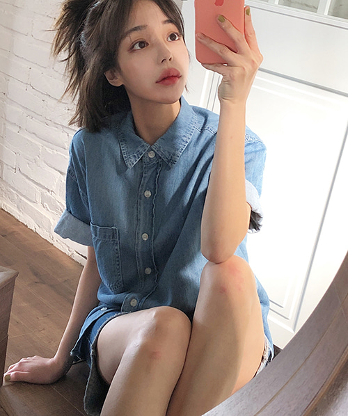 Denim half shirt (2 color)