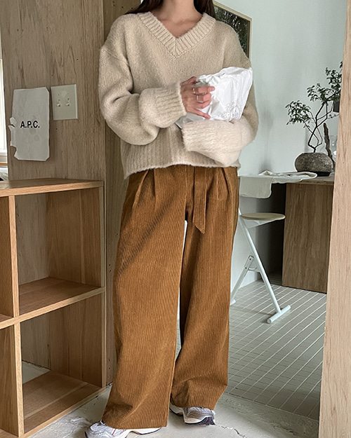 Belt set corduroy pants ( 2 color )