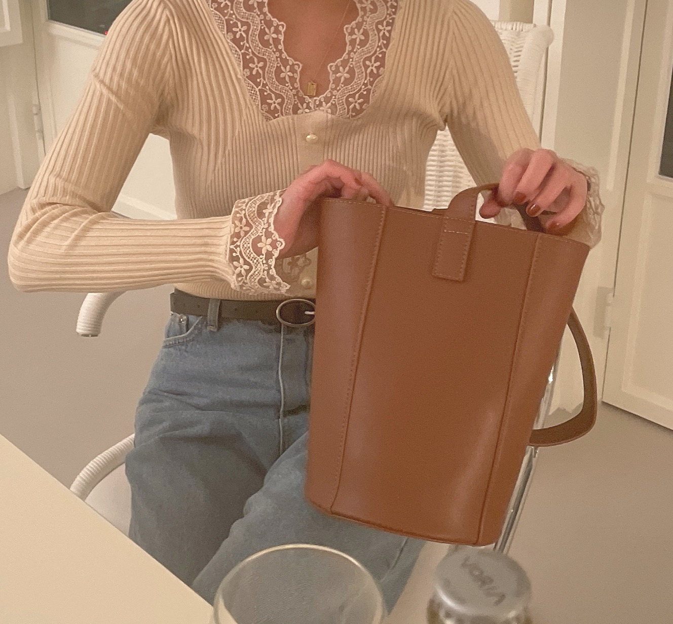being cylindrical bucket bag