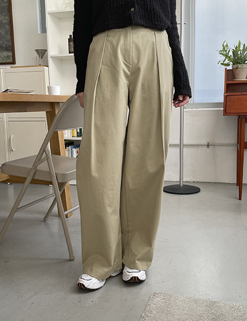 Tucking pin tuck wide pants ( 3 color )